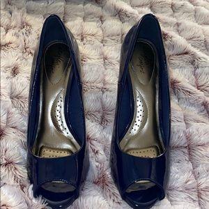 Navy Blue peep toe heel